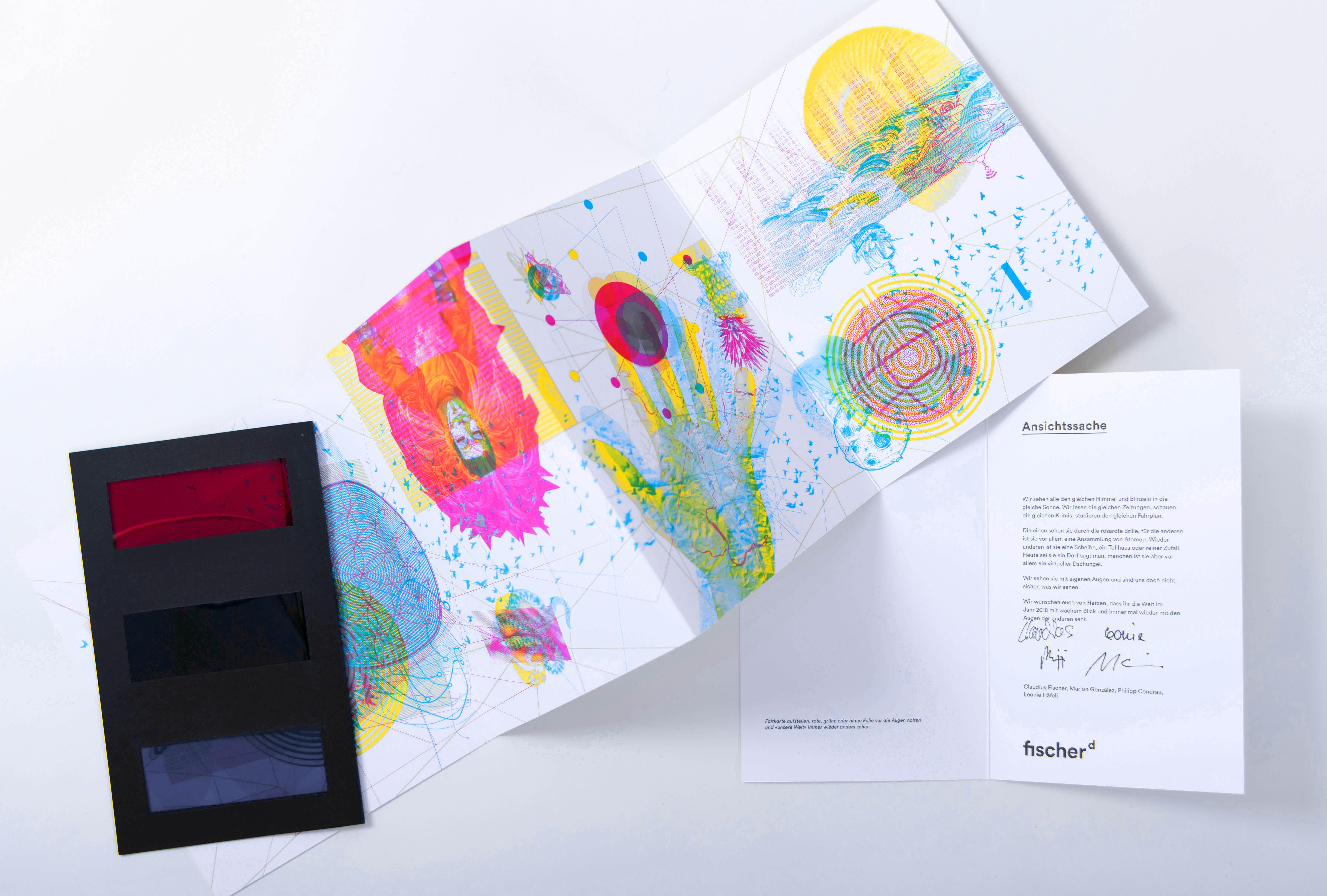 Fischerdesign – Eigenwerbung, 3-Farben Druck mit 3-farbiger Folien-Brille